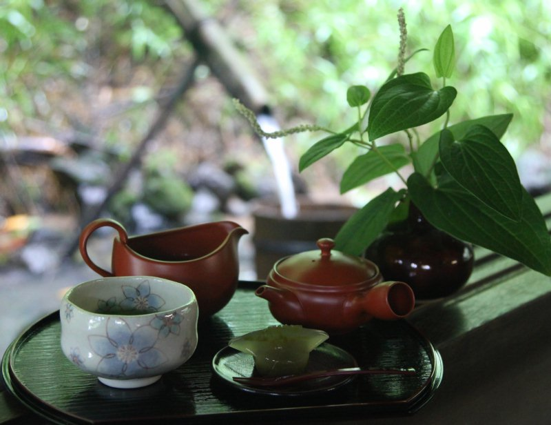 From July on, Shoya tea-room is opened to offer the tea set, a combination of the famous Kakegawa deep-steamed green tea and a delicate Japanese sweet.